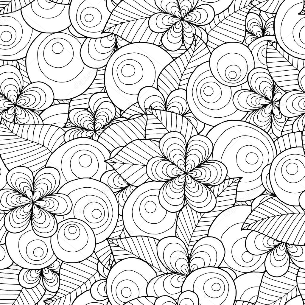 Seamless vector background with floral elements and circles.