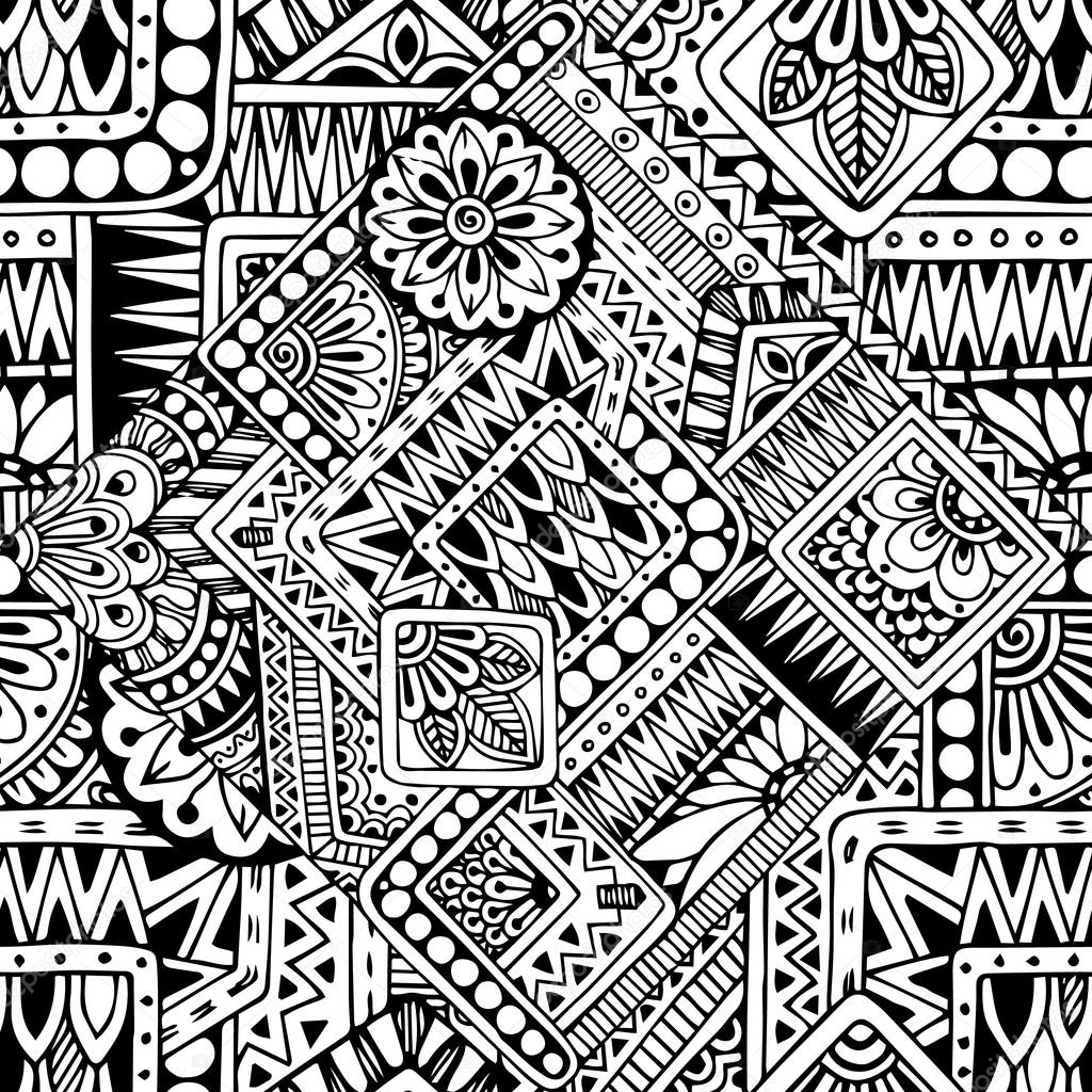 Seamless asian ethnic floral retro doodle black and white pattern in vector. Background with geometric elements.