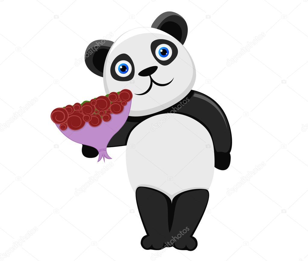 Panda Flowers Roses Vector — Vector by ttd1387