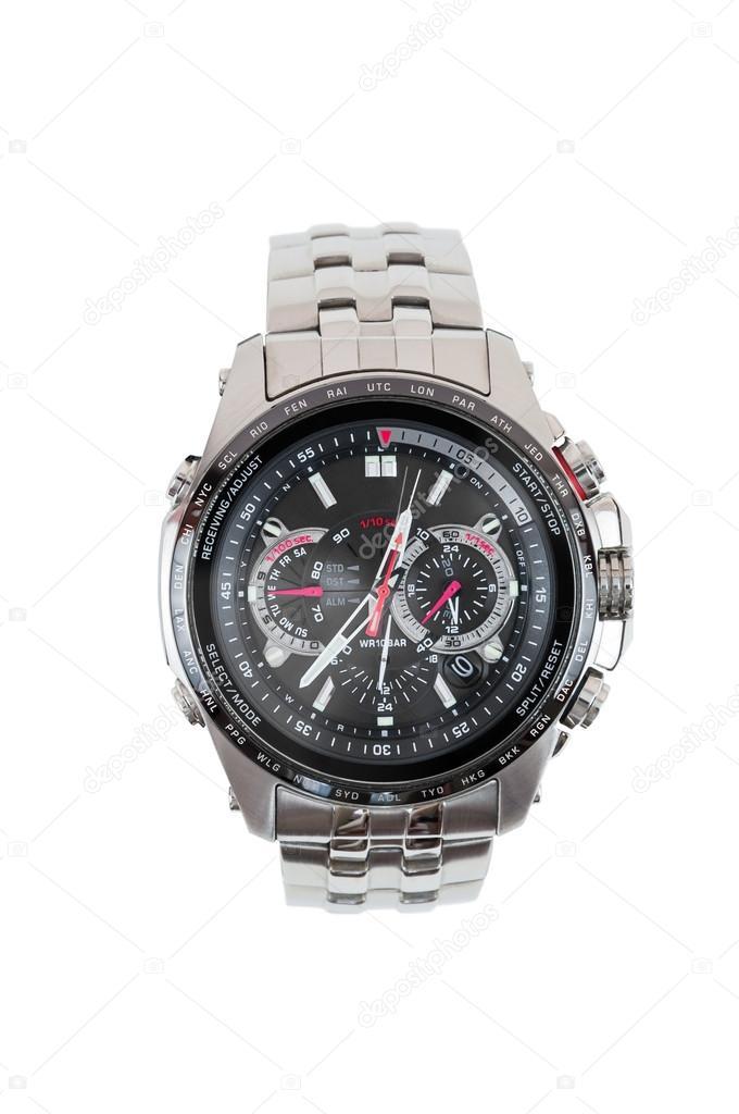 Analogové pánské hodinky na bílém pozadí s ořezovou cestou — Fotografie od  ... dd05d801a2e