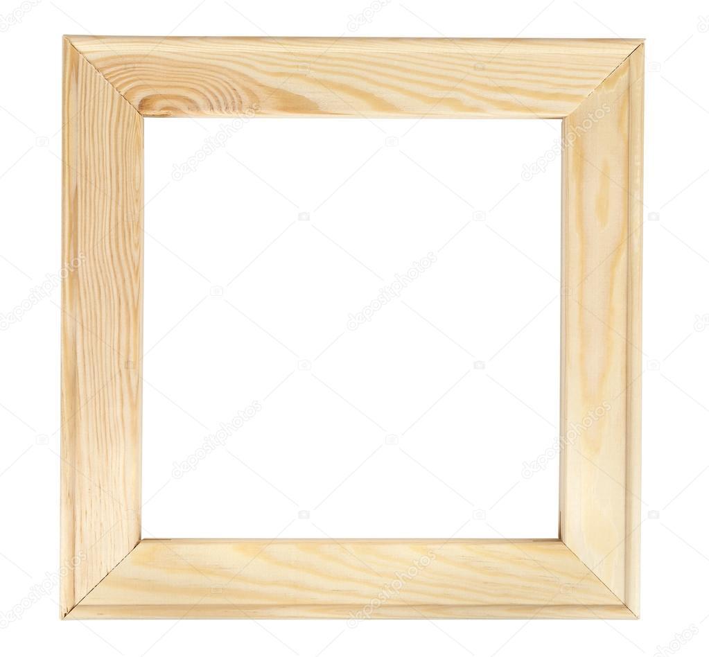 Quadrat aus Holz Bilderrahmen auf weißem backround — Stockfoto ...