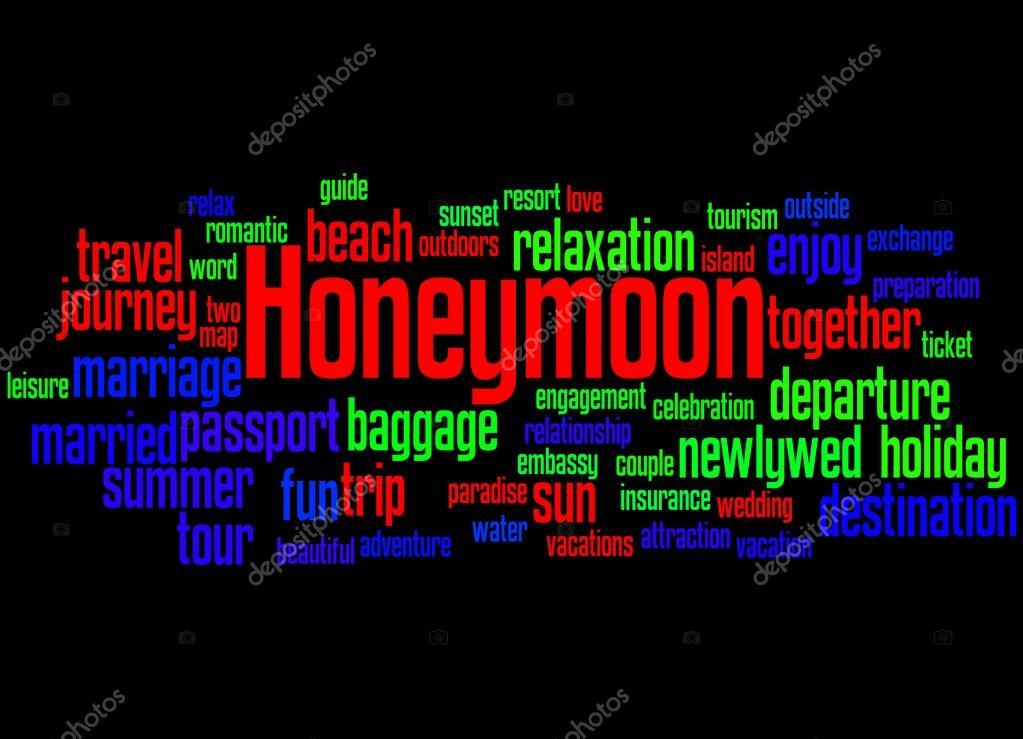 Honeymoon Word Cloud Concept Stock Photo