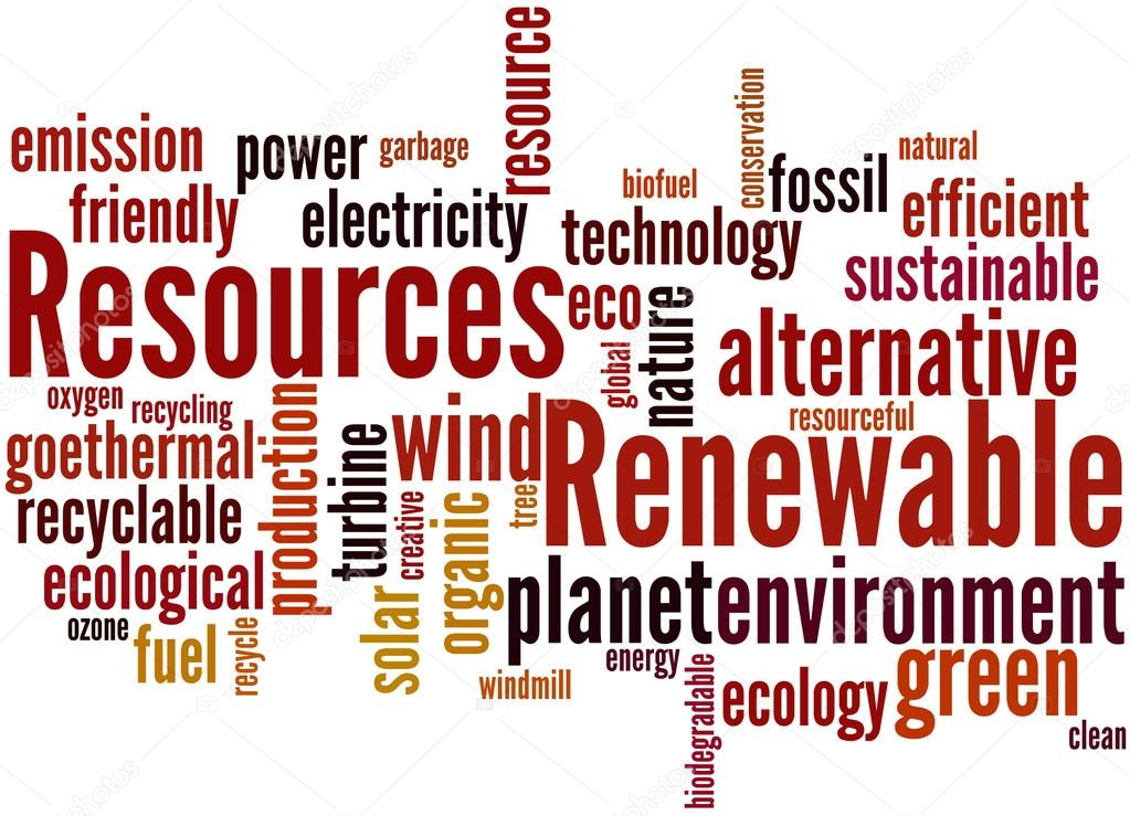Renewable Resources Word Cloud Concept 2 Stock Photo