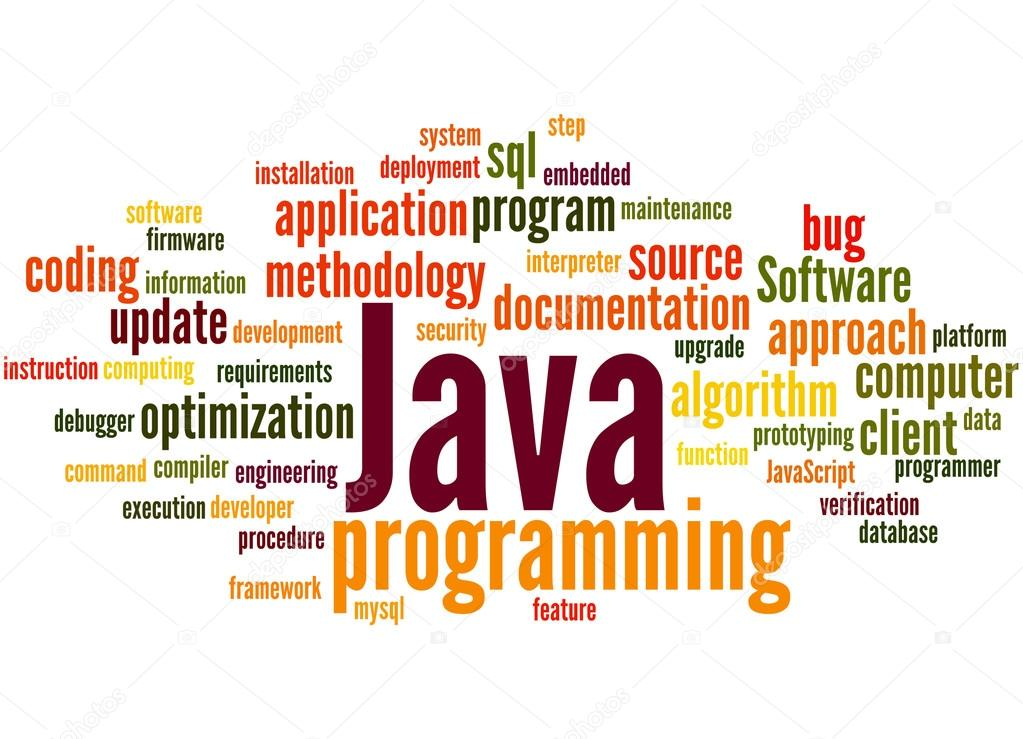 Java programming, word cloud concept 3 — Stock Photo
