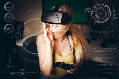 girl playing in virtual reality
