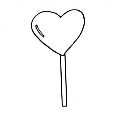 Heart shaped lollipop icon, sticker. sketch hand drawn doodle. vector scandinavian monochrome minimalism. candy, sweet, valentines day, love icon