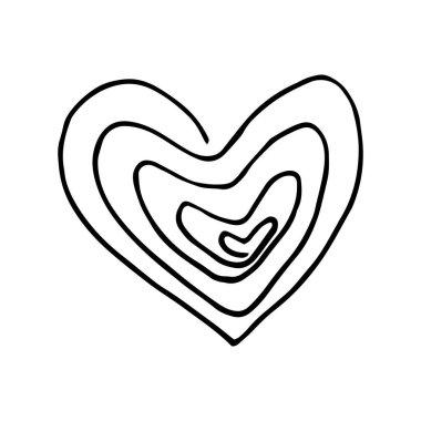Heart spiral icon, sticker. sketch hand drawn doodle. vector scandinavian monochrome minimalism. symbol, valentines day, love icon