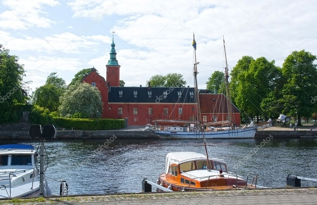 Small Motorboats Nissan River Halmstad Sweden Stock
