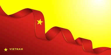 Red yellow background with vietnam flag ribbon design. Good template for Vietnam national day or independence day design.