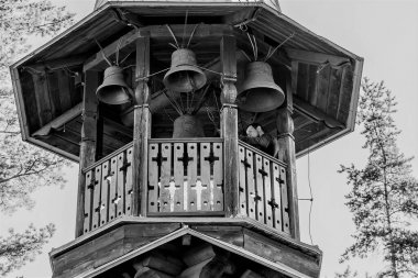 Russia, Priozersky district, August 2020. The bell ringer at the bell tower of the Orthodox Church.