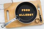 Dopis sušenky slovo alergií na potraviny a kuchyňské vybavení