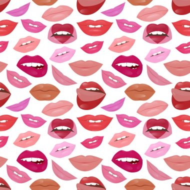 Glamour lips pattern with different lipstick colors