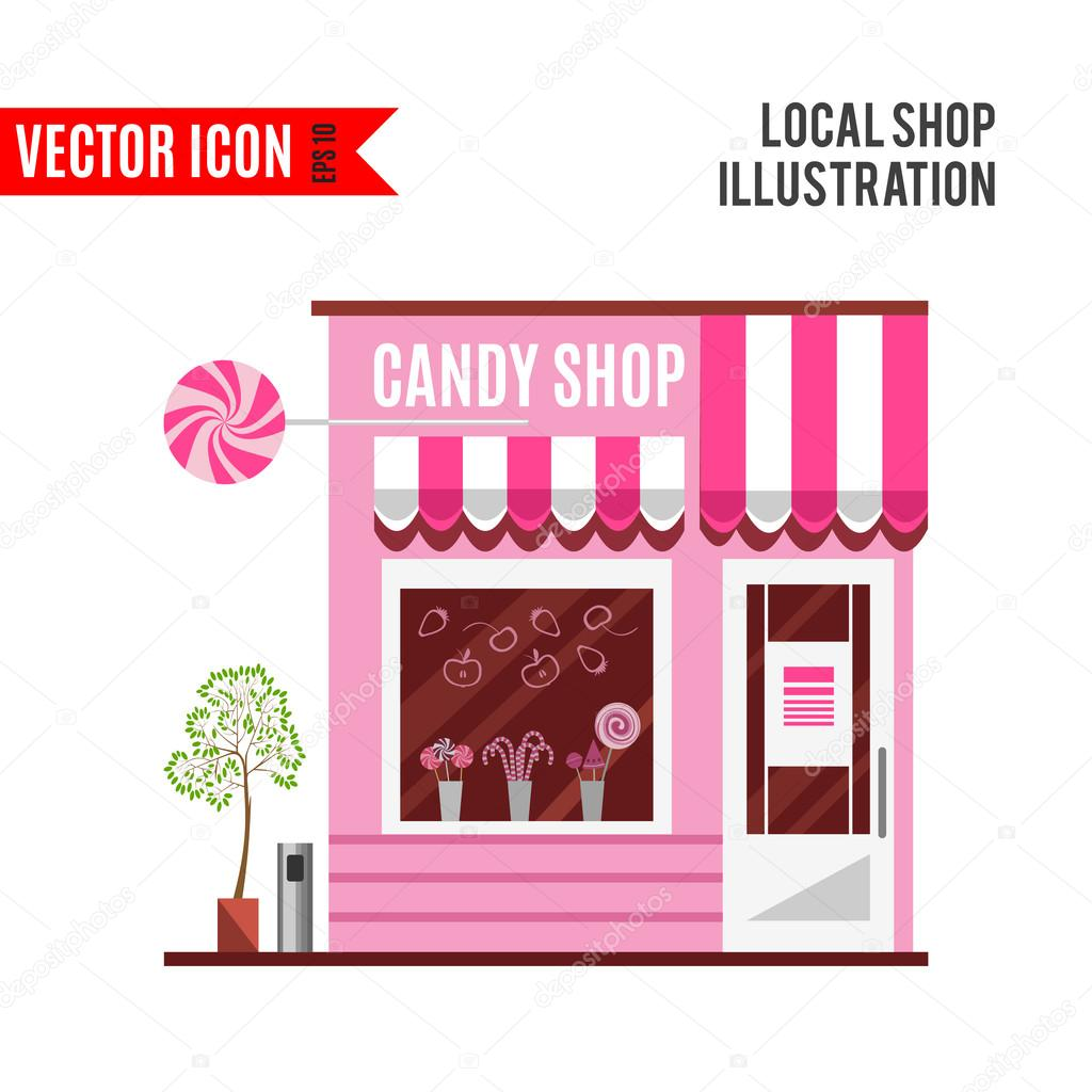 Cartoon Doughnut Factory: Candy Shop In A Pink Color. Flat Vector Design