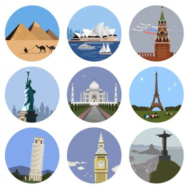 World landmarks flat icon set