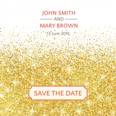 Perfect wedding template with golden confetti theme