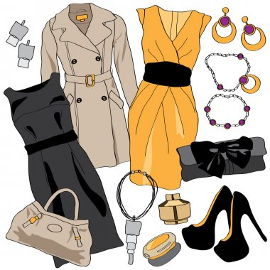 Woman wardrobe clothes accessories set