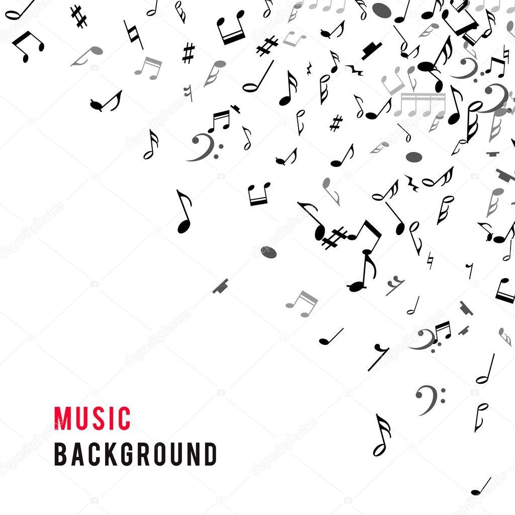 Resumen marco musical y frontera con notas negras sobre fondo blanco ...
