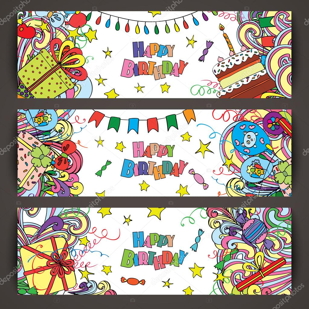 Happy Birthday greeting banners with celebration elements.