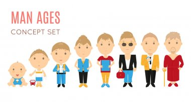 Set of casual man age flat icons