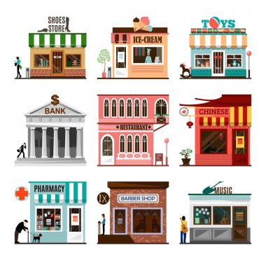 Set of flat vector shop building facades icons