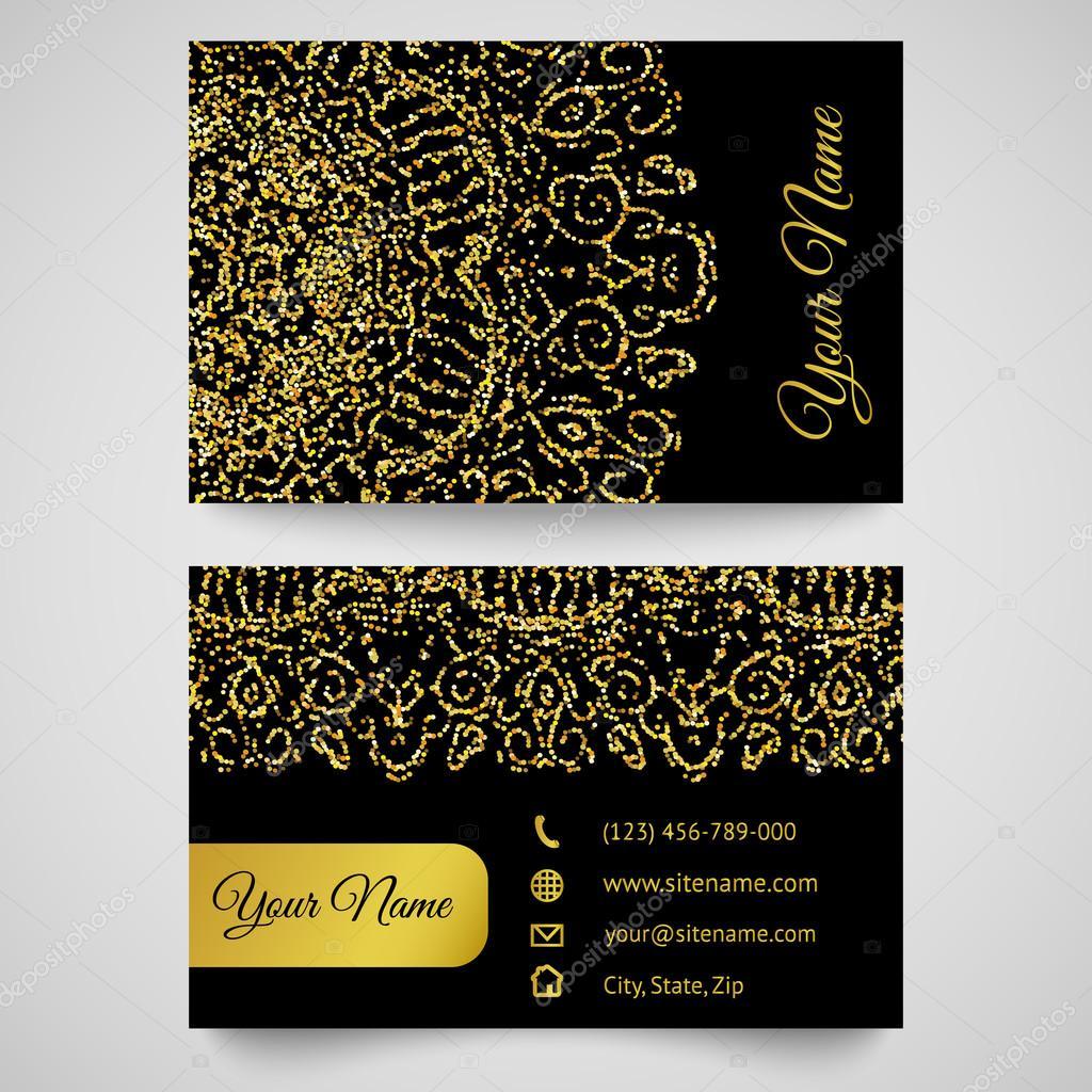 Business card template golden pattern on black background stock business card template golden pattern on black background stock photo reheart Gallery