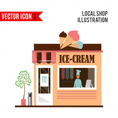 Ice cream detailed flat design cafe icon