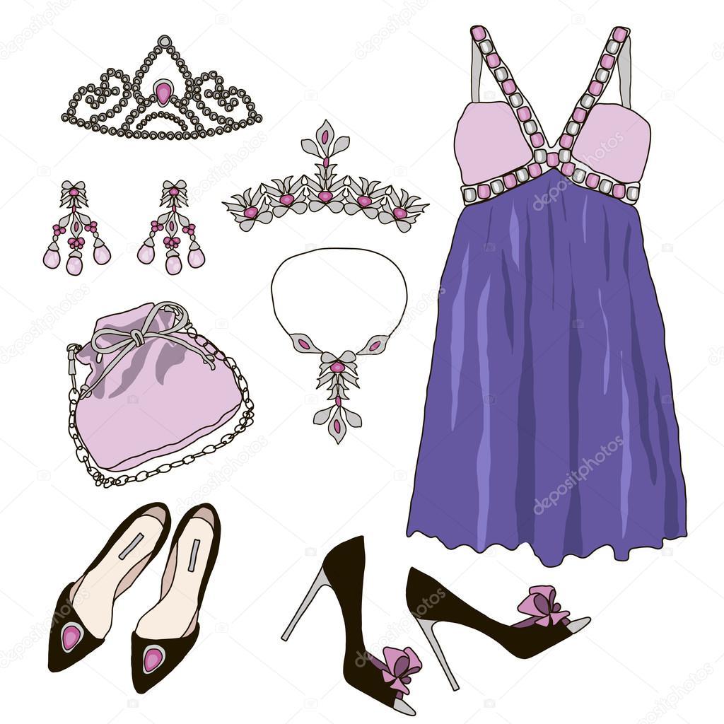 Mujer armario ropa accesorios set — Archivo Imágenes Vectoriales ...