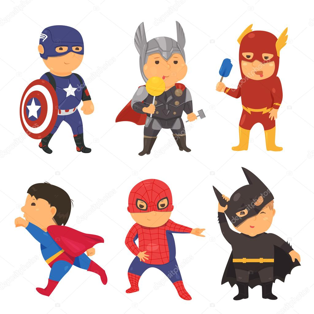 cartoon superhero costume kids vector illustration for comic super rh depositphotos com superhero vector image licensing superhero vector