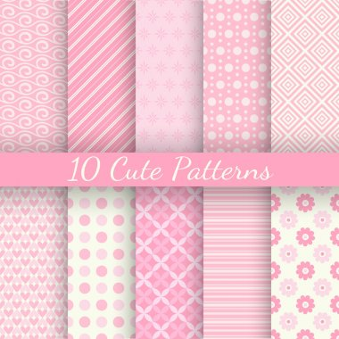10 Cute different vector seamless patterns. Pink and white colors. Endless texture can be used for sweet romantic wallpaper, pattern fill, web page background, surface textures. stock vector
