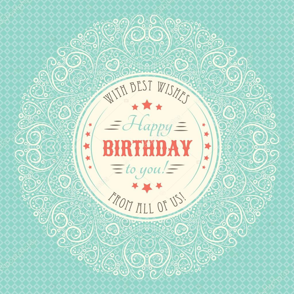 Vintage happy birthday card Typography letters font type – Vintage Happy Birthday Cards