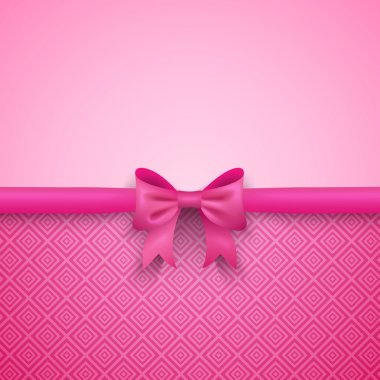 Romantic vector pink background with cute bow and pattern. Pretty design. Greeting card wallpaper for valentine day, birthday or woman day. clip art vector