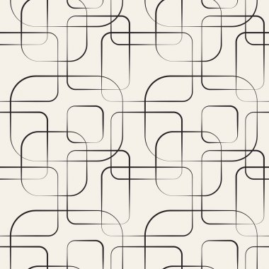 Abstract geometric line and square seamless pattern. Vector illustration for modern design. Black, white color. clip art vector
