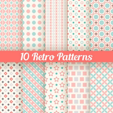 10 Retro different seamless patterns. Vector illustration for beauty design. Pink, white and blue colors. Endless texture can be used for sweet romantic wallpaper, pattern fill, web page background. stock vector