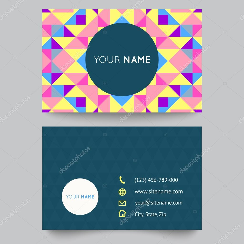 Business card template, abstract colorful geometric background