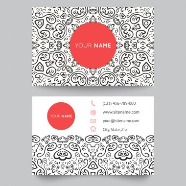 Business card template, black, red and white beauty fashion pattern vector design editable. Vector illustration for modern design. Beautiful ornate pattern. clip art vector