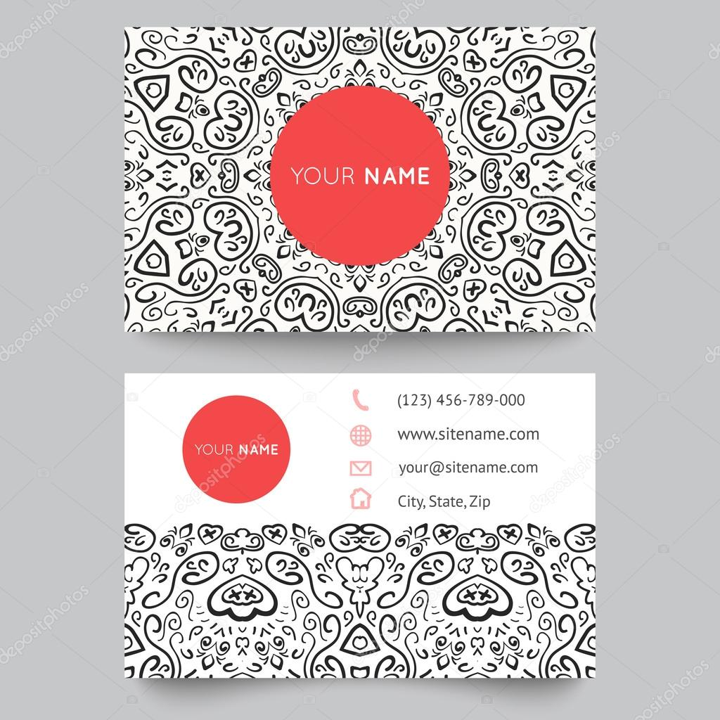 Business card template, black, red and white beauty fashion pattern ...