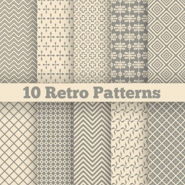 Retro different seamless patterns. Vector illustration
