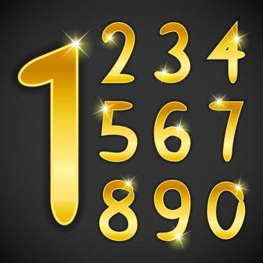 Number set in golden style on black background. Vector illustration
