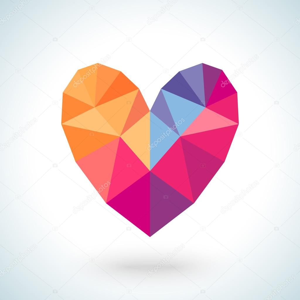 Bright colorful heart shape in modern polygonal crystal style