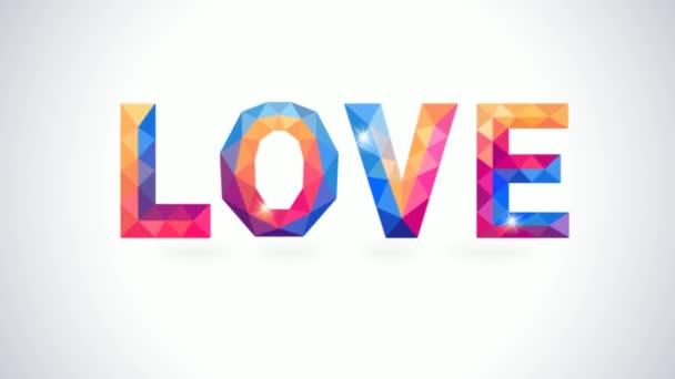 Poligonali amore e cuore concetto scheda romantica. Animazione video