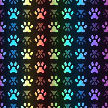 Animal seamless spectrum vector pattern of paw footprint