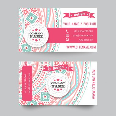 Business card template, blue, white and pink beauty fashion pattern