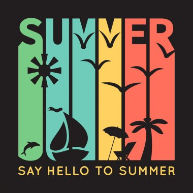 Summer typography with beach icons, t-shirt graphics