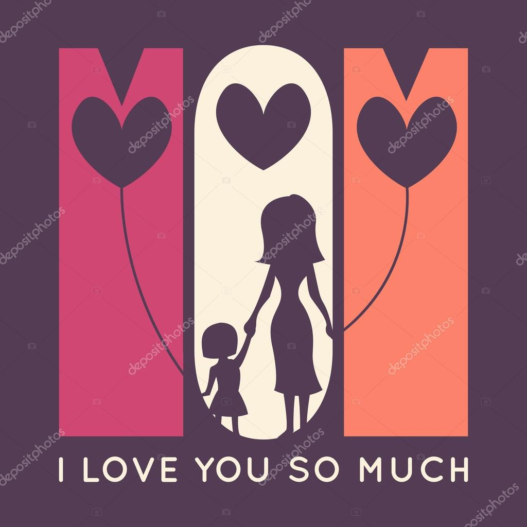 Happy Mother Day retro greeting card. Vector illustration