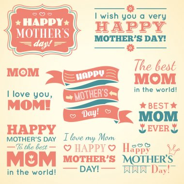 Happy Mothers day. Set of cute elements. Vector illustration