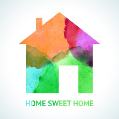 Watercolour sweet home icon on white background. Vector illustration