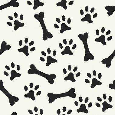 Animal seamless vector pattern of paw footprint and bone