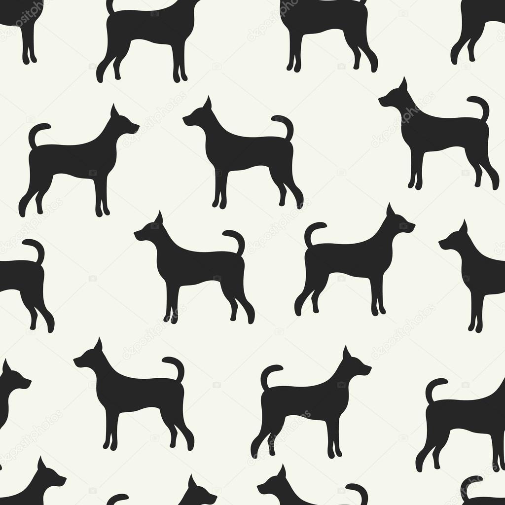 Patrón de animal de vector transparente de siluetas de perros ...