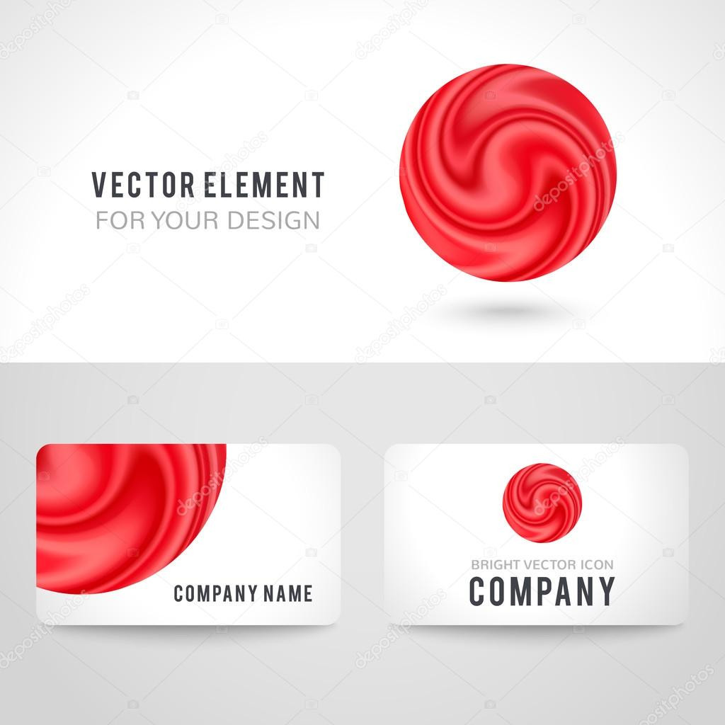 business card template set abstract red circle background vector illustration stock vector - Circle Business Card Template