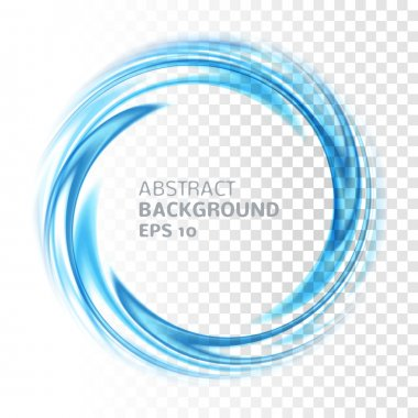 Abstract blue swirl circle on transparent background